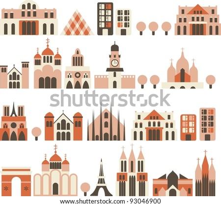 cartoon european houses in vector - stock vector