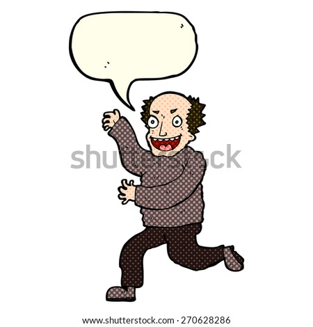 cartoon evil old man with speech bubble - stock vector