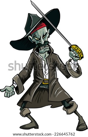 Cartoon evil zombie pirate. Isolated on white