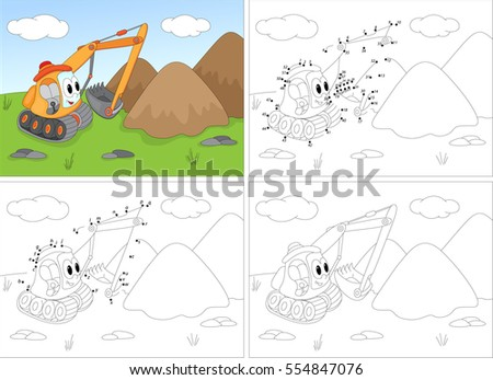 Cartoon Excavator Coloring Book And Dot To Educational Game For Kids