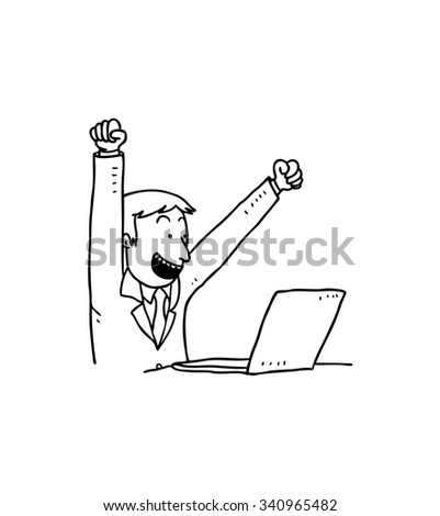 cartoon excited businessman with laptop  - stock vector