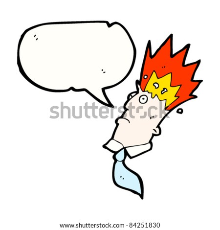 cartoon exploding head man with speech bubble