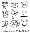cartoon expressions set - stock vector
