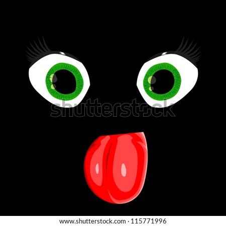 Cartoon Eye in the dark - stock vector