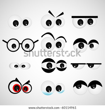 Cartoon eye set Vector illustration - stock vector
