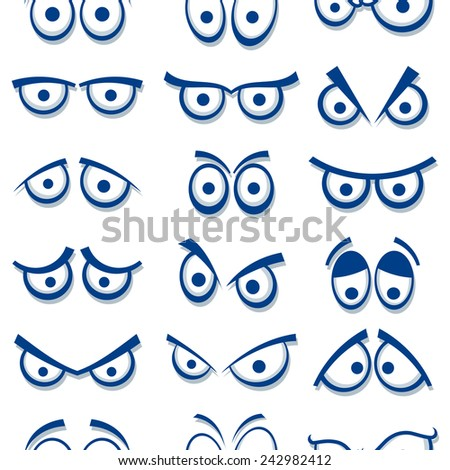 Cartoon eyes seamless pattern.  - stock vector