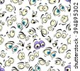 Cartoon eyes seamless pattern background with happy and angry, funny and scared, smile and mad, surprise and eerie emotions - stock vector