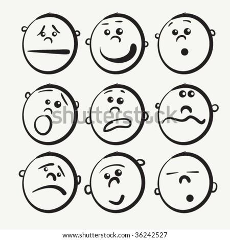 Cartoon face icons, doodle sketch kid design - stock vector