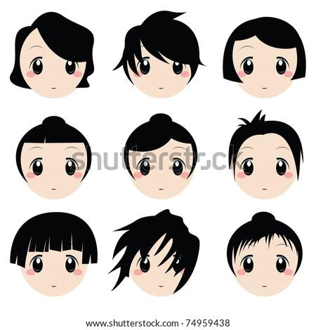 cartoon face set - stock vector