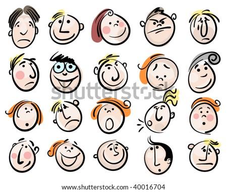 cartoon face vector people - stock vector