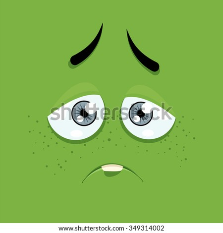 Cartoon face with a sad expression on a green background. - stock vector