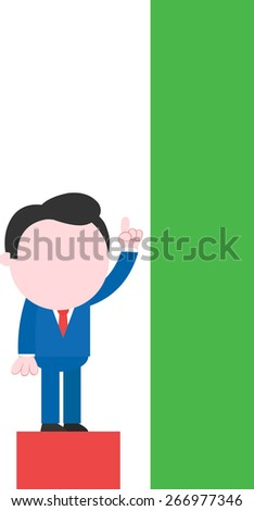 Cartoon faceless businessman standing on low red bar pointing up to tall green bar - stock vector