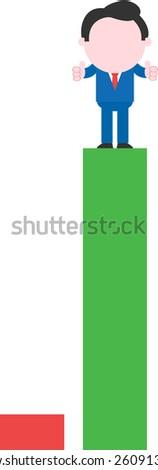 Cartoon faceless businessman standing thumbs-up on tall green bar beside low red bar - stock vector