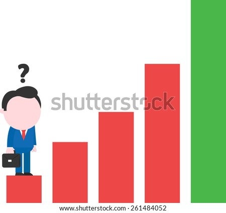 Cartoon faceless confused businessman standing on low rung of red green bar chart - stock vector