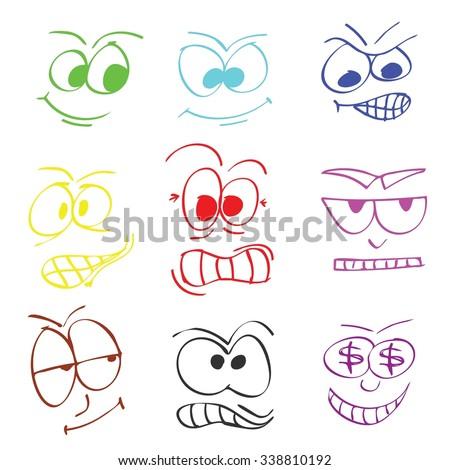 cartoon faces - stock vector