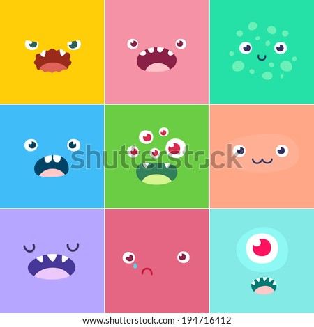 Cartoon faces with emotions v.4 - stock vector