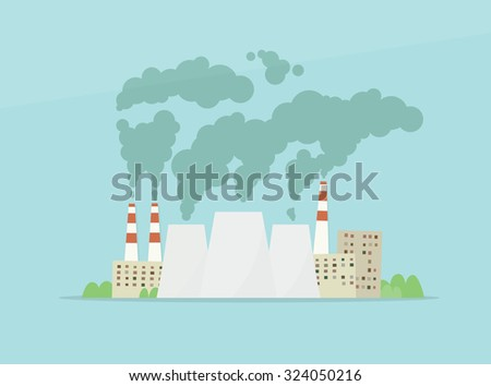 cartoon factory. air pollution - stock vector