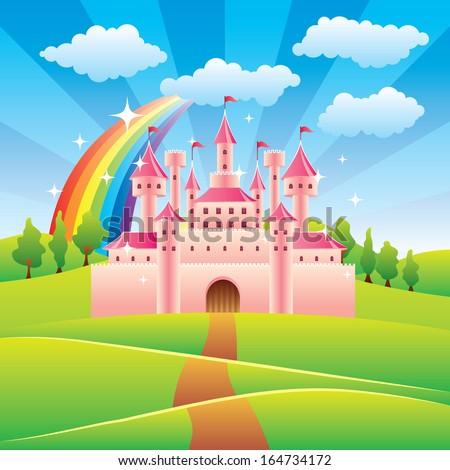 Cartoon fairy tale castle colorful vector illustration - stock vector