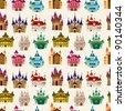 cartoon Fairy tale castle seamless pattern - stock vector