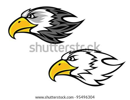 Cartoon falcon or hawk head for mascot or tattoo design, such a logo - stock vector
