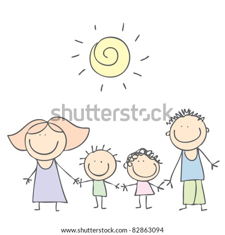 cartoon family - stock vector