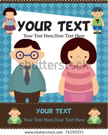 cartoon family card - stock vector