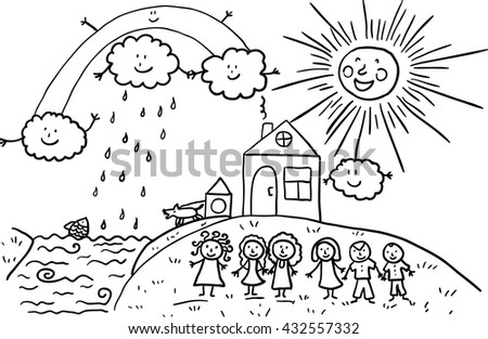 Cartoon family, house and clouds. Vector sketch. - stock vector