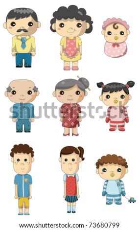 cartoon family icon - stock vector