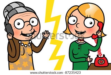 Cartoon family, two women , grandmother and daughter talking on phone, vector illustration