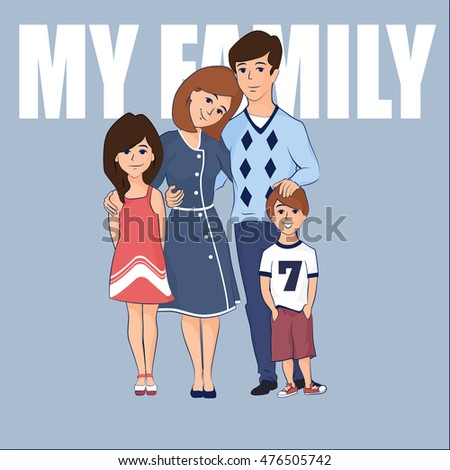 Family with two children stock photos royalty free images amp vectors