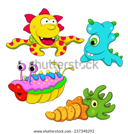 Cartoon fanny happy  monsters. Set of four monsters. - stock vector