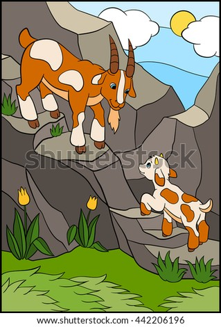 Cartoon farm animals for kids. Father goat with his little cute baby goat on the rocks.  - stock vector