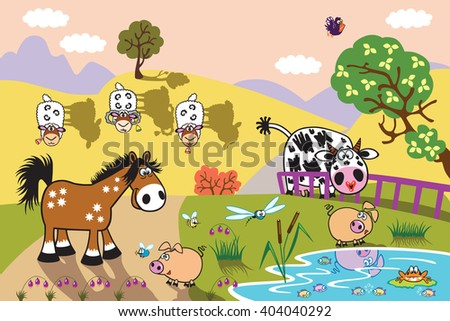 cartoon farm animals : sheep, horse ,cow and pig in the pasture field at evening. Rural landscape . Children illustration