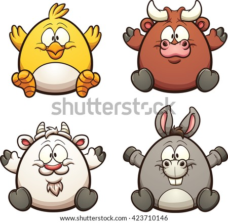 Cartoon farm animals. Vector clip art illustration with simple gradients. Each on a separate layer. - stock vector