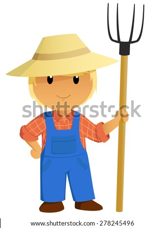 Cartoon Farmer Character in hat with pitchfork. Vector Illustration. - stock vector