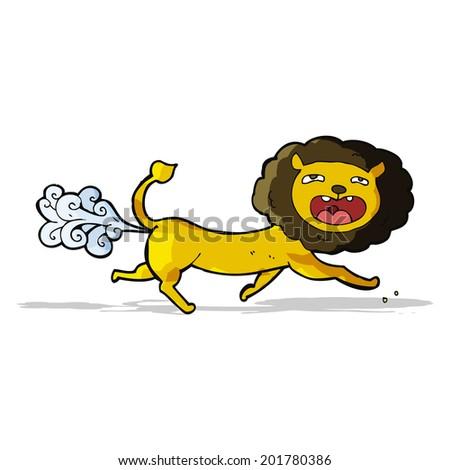 cartoon farting lion - stock vector
