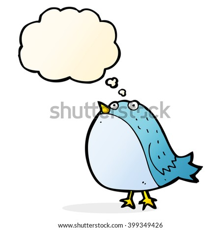 cartoon fat bird with thought bubble