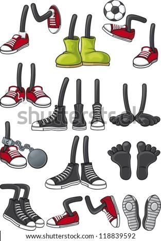Cartoon feet collection - stock vector