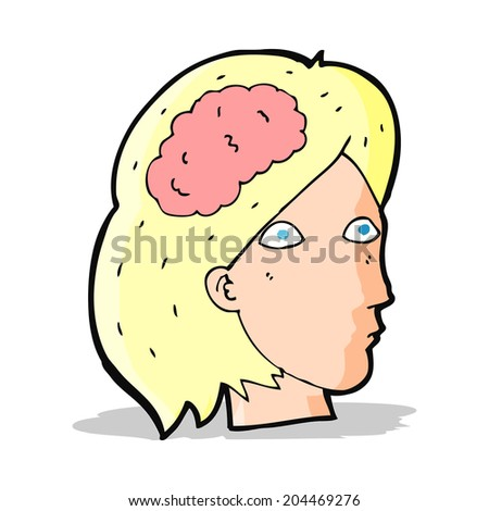 cartoon female head with brain symbol - stock vector