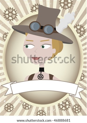 Cartoon female inside oval product label settings - stock vector