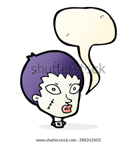 cartoon female zombie head with speech bubble - stock vector
