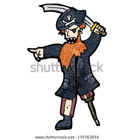 cartoon fierce pirate captain - stock vector