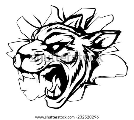 Cartoon fierce tiger mascot animal character breaking through a wall - stock vector