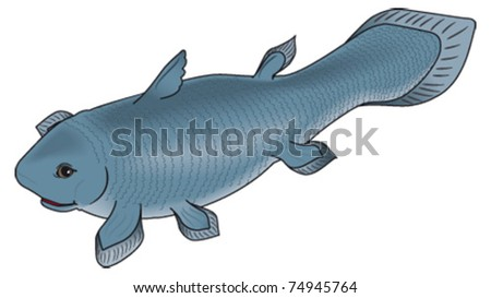 Cartoon fish coelacanth