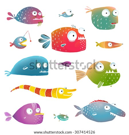 Cartoon Fish Collection for Kids Design. Fun cartoon hand drawn scary fishes for children design illustrations set. EPS10 vector has no background color. - stock vector