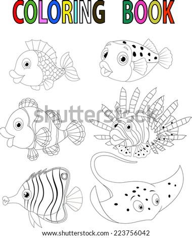 Cartoon fish coloring book - stock vector