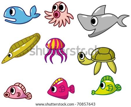 cartoon fish icon - stock vector