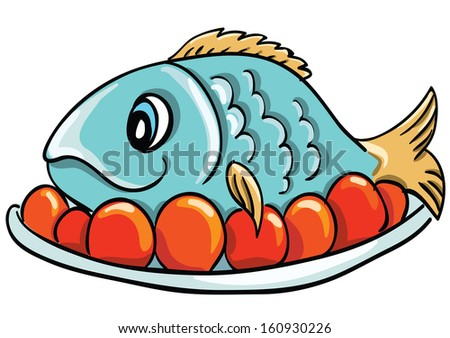 fried fish cartoon