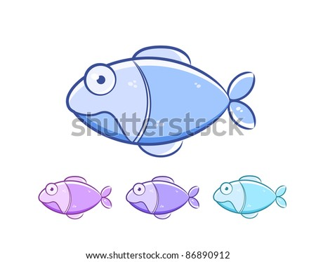 Cartoon fish set isolated on white background. Vector Illustration - stock vector