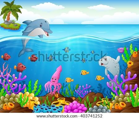 cartoon fish under the sea - stock vector